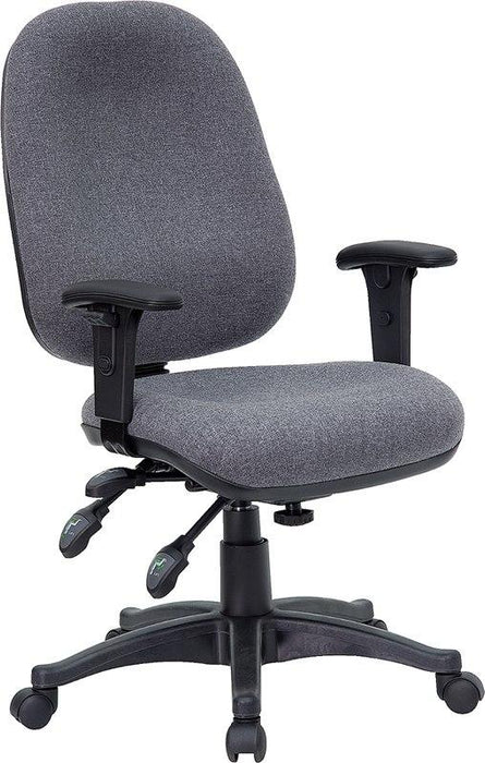 Flash Furniture BT-662-GY-GG Mid-Back Gray Fabric Multifunction Executive Swivel Chair with Adjustable Arms