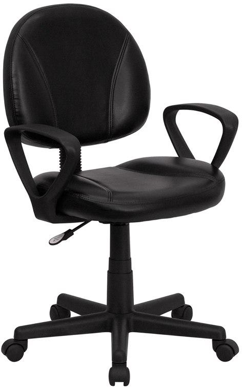 Flash Furniture BT-688-BK-A-GG Mid-Back Black Leather Ergonomic Swivel Task Chair with Arms