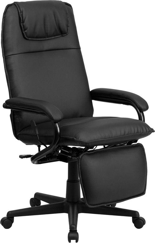 Flash Furniture BT-70172-BK-GG High Back Black Leather Executive Reclining Swivel Chair with Arms