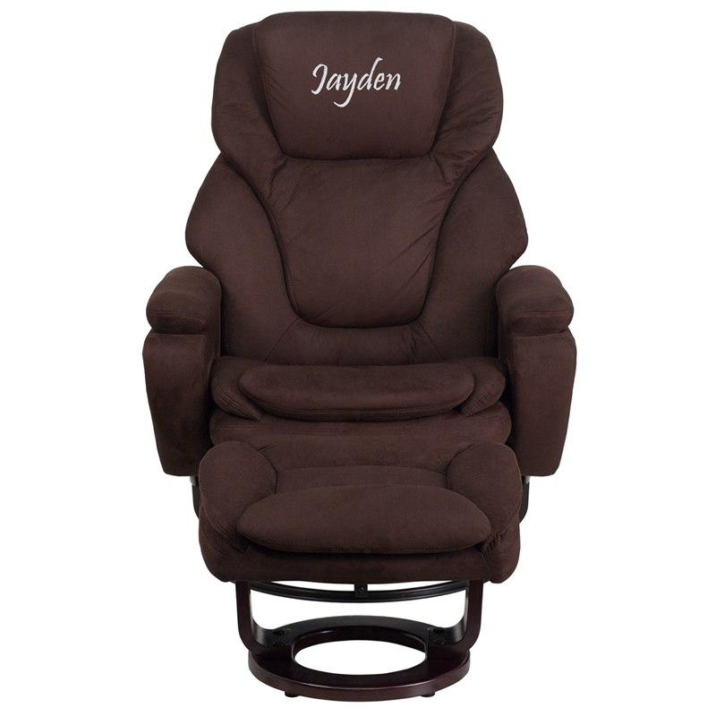 Flash Furniture BT-70222-MIC-FLAIR-TXTEMB-GG Personalized Contemporary Brown Microfiber Recliner and Ottoman with Swiveling Mahogany Wood Base
