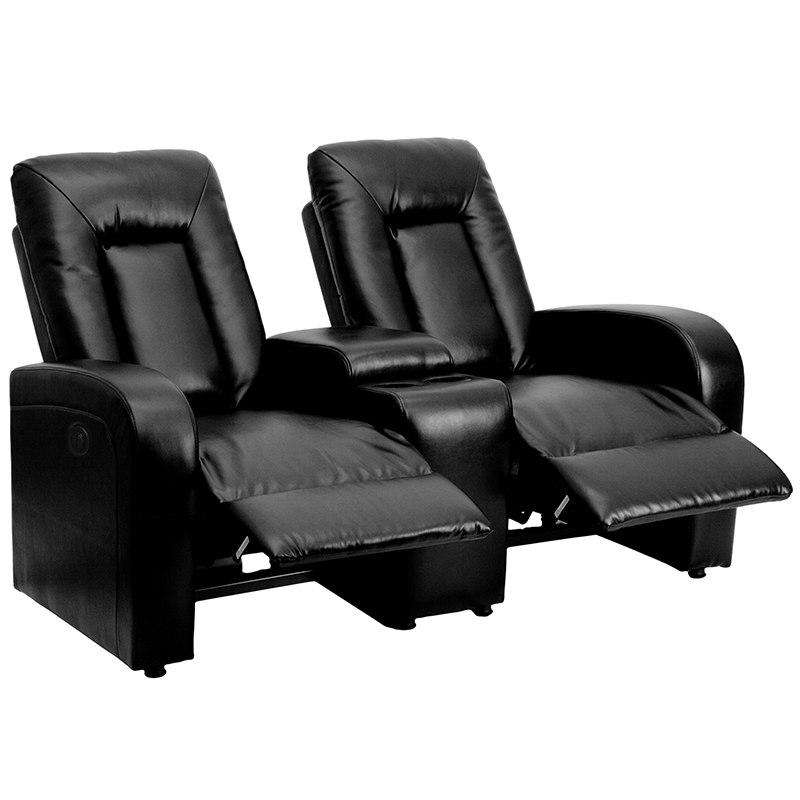 Flash Furniture BT-70259-2-P-BK-GG Eclipse Series 2-Seat Push Button Motorized Reclining Black Leather Theater Seating Unit with Cup Holders