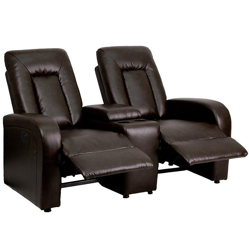 Flash Furniture BT-70259-2-P-BRN-GG Eclipse Series 2-Seat Push Button Motorized Reclining Brown Leather Theater Seating Unit with Cup Holders