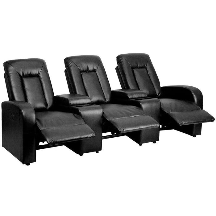 Flash Furniture BT-70259-3-P-BK-GG Eclipse Series 3-Seat Push Button Motorized Reclining Black Leather Theater Seating Unit with Cup Holders