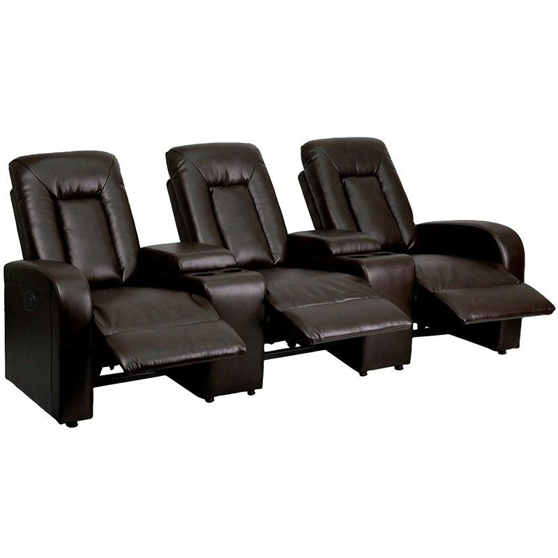 Flash Furniture BT-70259-3-P-BRN-GG Eclipse Series 3-Seat Push Button Motorized Reclining Brown Leather Theater Seating Unit with Cup Holders
