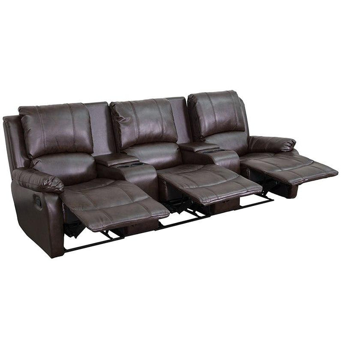 Flash Furniture BT-70295-3-BRN-GG Allure Series 3-Seat Reclining Pillow Back Brown Leather Theater Seating Unit with Cup Holders