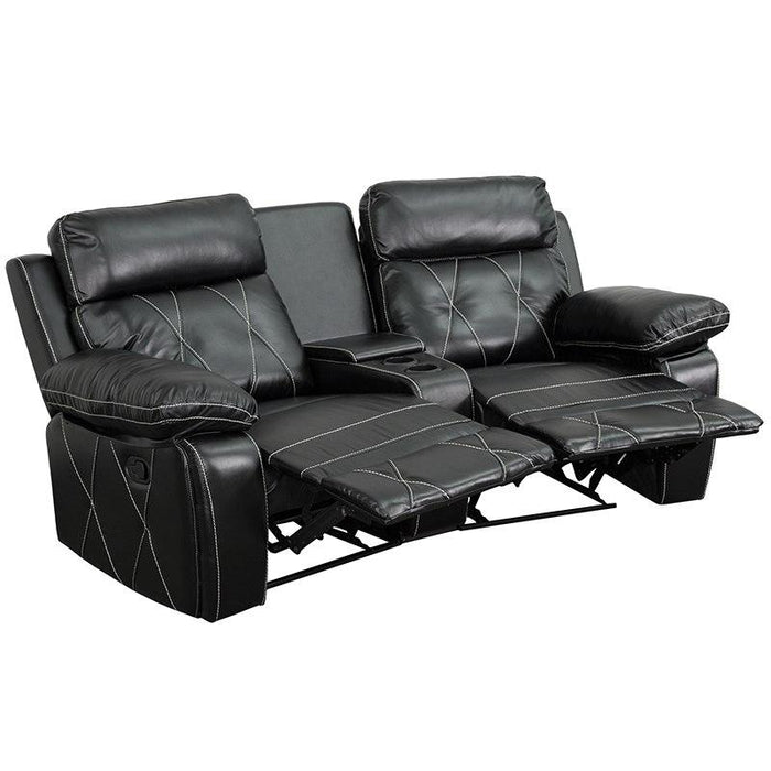 Flash Furniture BT-70530-2-BK-CV-GG Reel Comfort Series 2-Seat Reclining Black Leather Theater Seating Unit with Curved Cup Holders