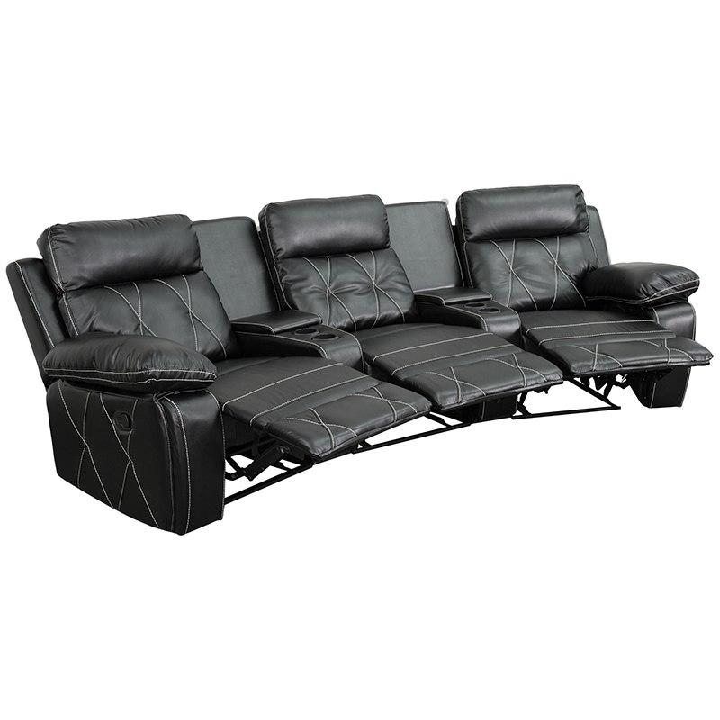 Flash Furniture BT-70530-3-BK-CV-GG Reel Comfort Series 3-Seat Reclining Black Leather Theater Seating Unit with Curved Cup Holders