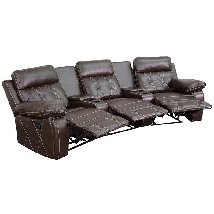 Flash Furniture BT-70530-3-BRN-CV-GG Reel Comfort Series 3-Seat Reclining Brown Leather Theater Seating Unit with Curved Cup Holders