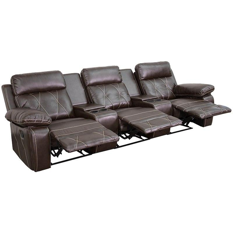 Flash Furniture BT-70530-3-BRN-GG Reel Comfort Series 3-Seat Reclining Brown Leather Theater Seating Unit with Straight Cup Holders