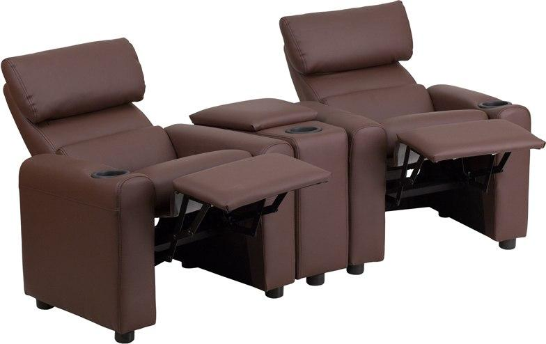 Flash Furniture BT-70592-BN-LEA-GG Kid's Brown Leather Reclining Theater Seating with Storage Console