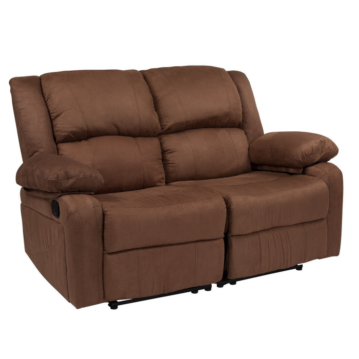 Flash Furniture BT-70597-LS-BN-MIC-GG Harmony Series Chocolate Brown Microfiber Loveseat with Two Built-In Recliners
