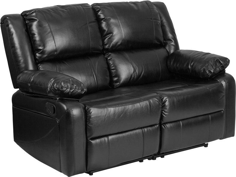 Flash Furniture BT-70597-LS-GG Harmony Series Black Leather Loveseat with Two Built-In Recliners