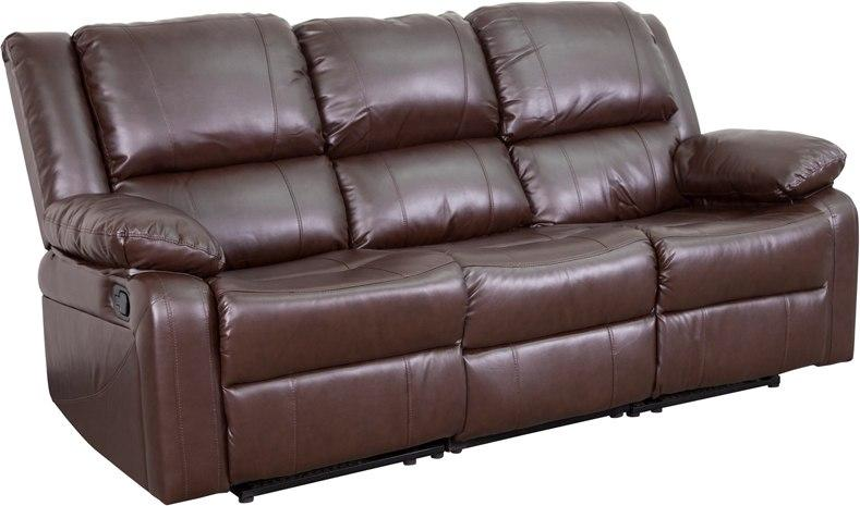Flash Furniture BT-70597-SOF-BN-GG Harmony Series Brown Leather Sofa with Two Built-In Recliners