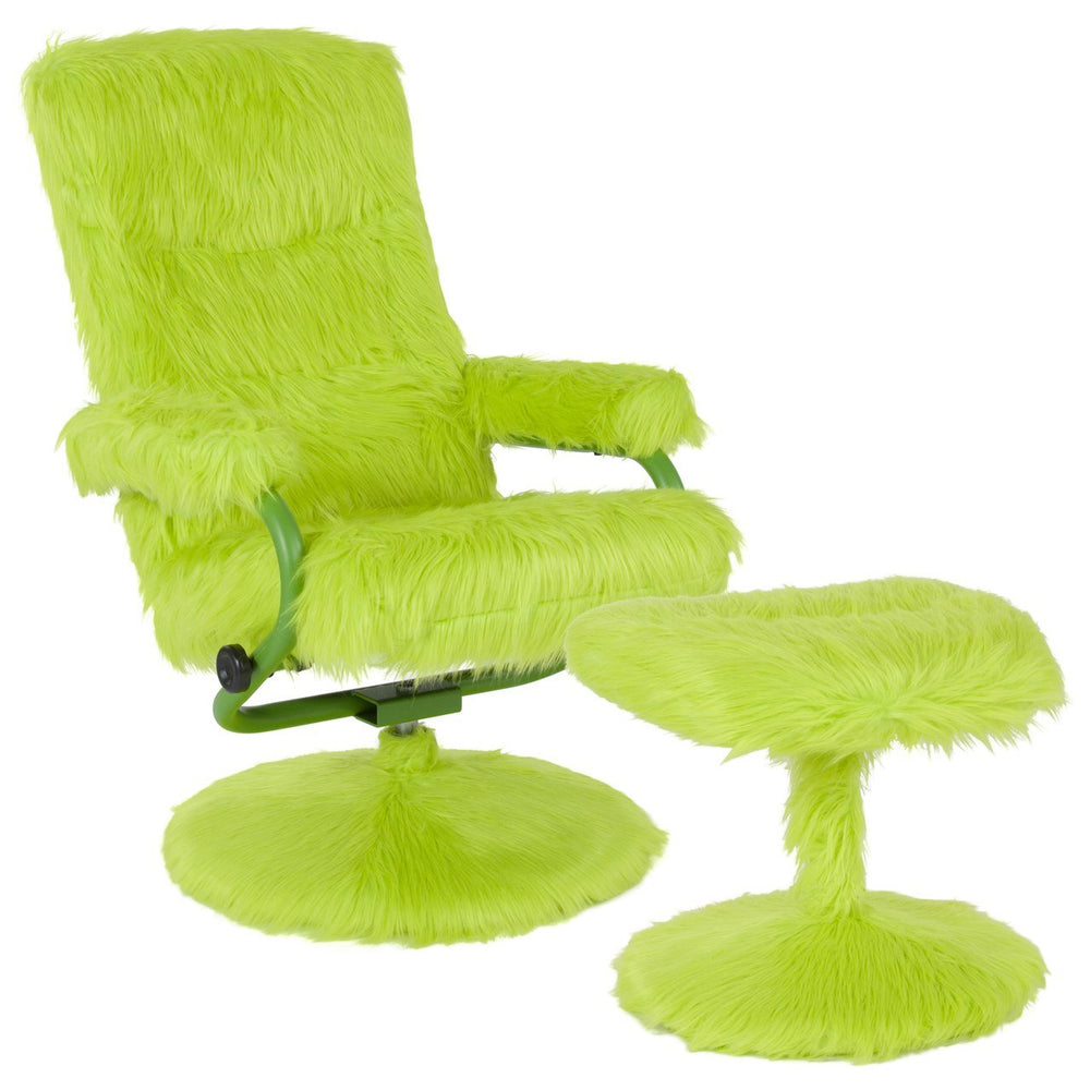 Flash Furniture BT-70621-FUR-CGRN-GG East Side Contemporary Recliner and Ottoman in Citrus Green Fur