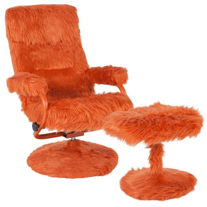Flash Furniture BT-70621-FUR-ORG-GG East Side Contemporary Recliner and Ottoman in Orange Fur