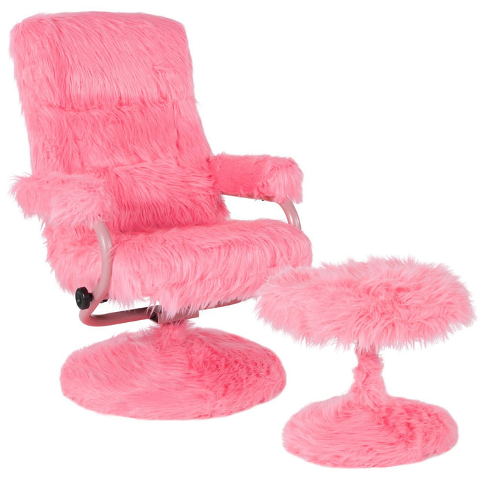Flash Furniture BT-70621-FUR-PNK-GG East Side Contemporary Recliner and Ottoman in Pink Fur