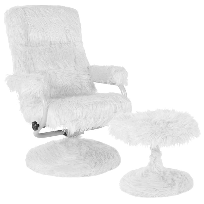 Flash Furniture BT-70621-FUR-WHT-GG East Side Contemporary Recliner and Ottoman in White Fur