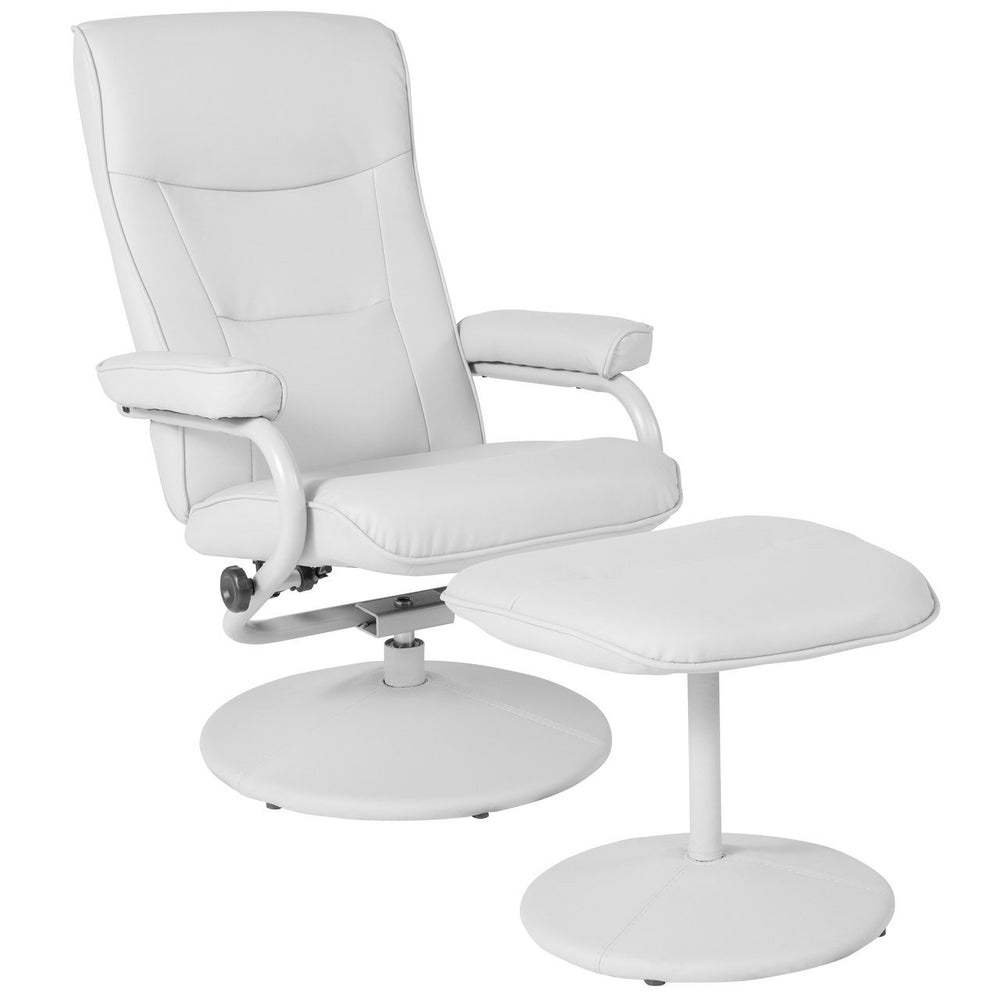 Flash Furniture BT-70621-WHT-GG Chelsea Contemporary Recliner and Ottoman in White Vinyl