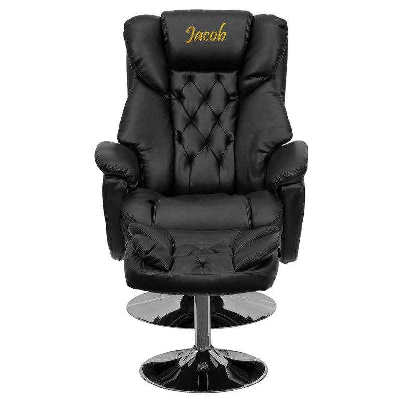 Flash Furniture BT-7807-TRAD-TXTEMB-GG Personalized Transitional Black Leather Recliner and Ottoman with Chrome Base