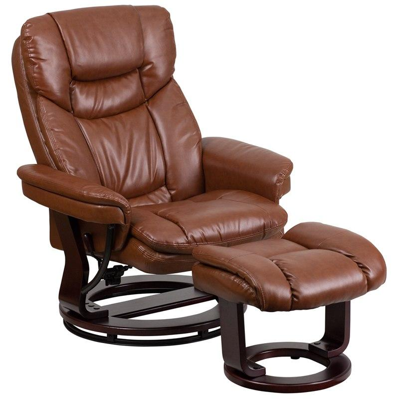 Flash Furniture BT-7821-VIN-GG Contemporary Brown Vintage Leather Recliner and Ottoman with Swiveling Mahogany Wood Base