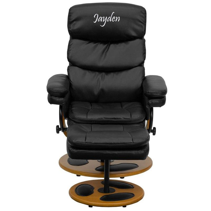 Flash Furniture BT-7828-PILLOW-TXTEMB-GG Personalized Contemporary Black Leather Recliner and Ottoman with Wood Base