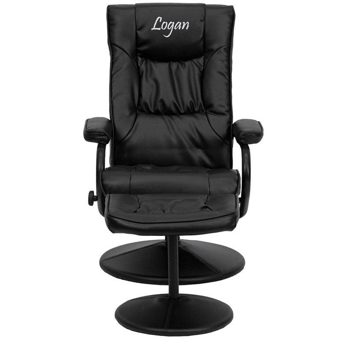 Flash Furniture BT-7862-BK-TXTEMB-GG Personalized Contemporary Black Leather Recliner and Ottoman with Leather Wrapped Base