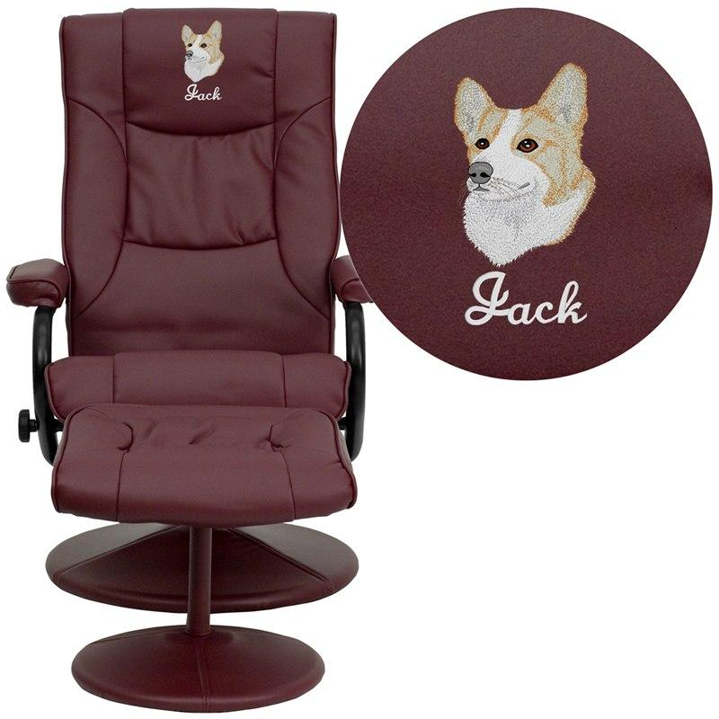 Flash Furniture BT-7862-BURG-EMB-GG Embroidered Contemporary Burgundy Leather Recliner and Ottoman with Leather Wrapped Base