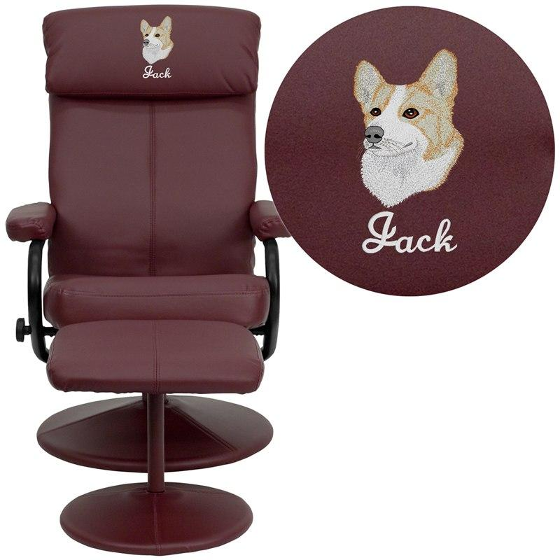 Flash Furniture BT-7863-BURG-EMB-GG Embroidered Contemporary Burgundy Leather Recliner and Ottoman with Leather Wrapped Base