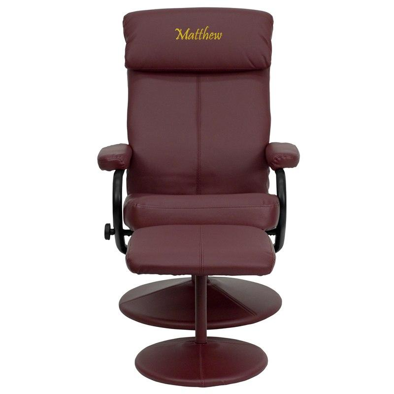 Flash Furniture BT-7863-BURG-TXTEMB-GG Personalized Contemporary Burgundy Leather Recliner and Ottoman with Leather Wrapped Base