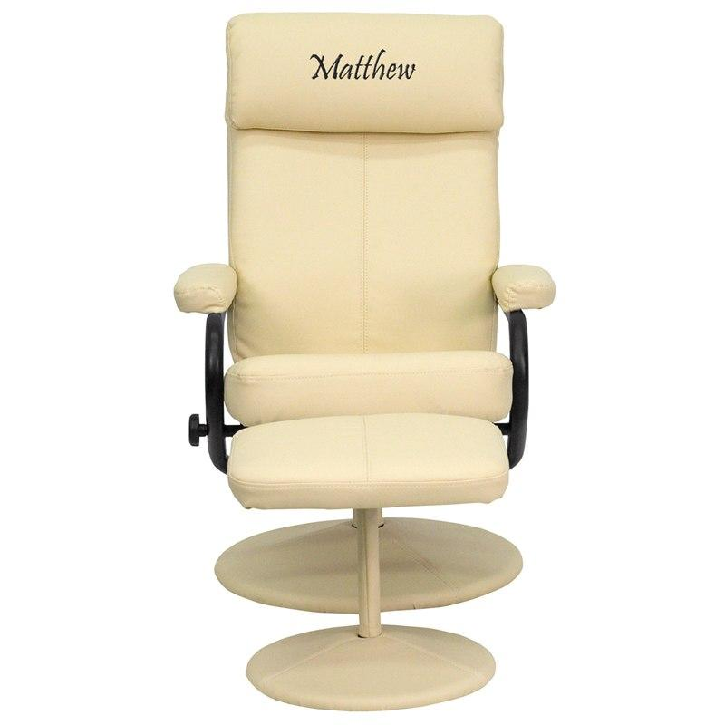 Flash Furniture BT-7863-CREAM-TXTEMB-GG Personalized Contemporary Cream Leather Recliner and Ottoman with Leather Wrapped Base
