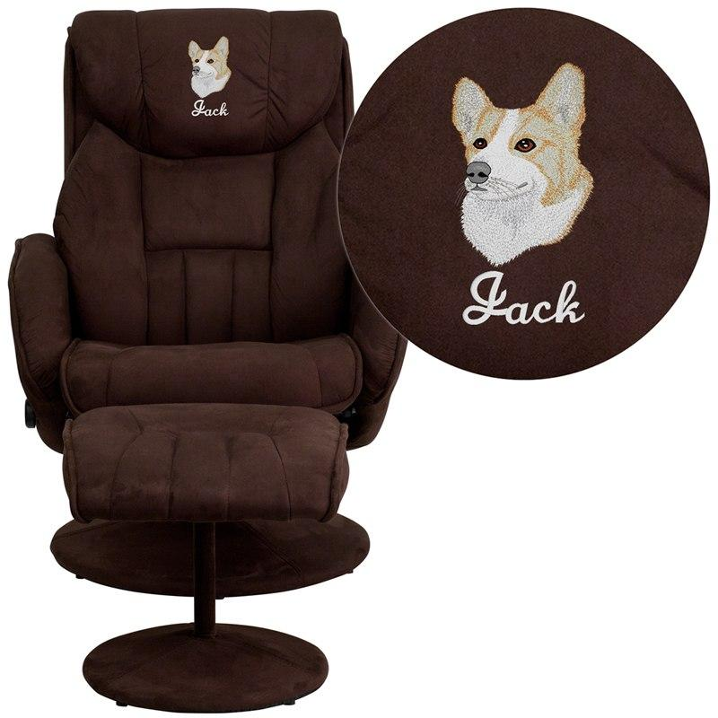 Flash Furniture BT-7895-MIC-PINPOINT-EMB-GG Embroidered Contemporary Brown Microfiber Recliner and Ottoman with Circular Microfiber Wrapped Base