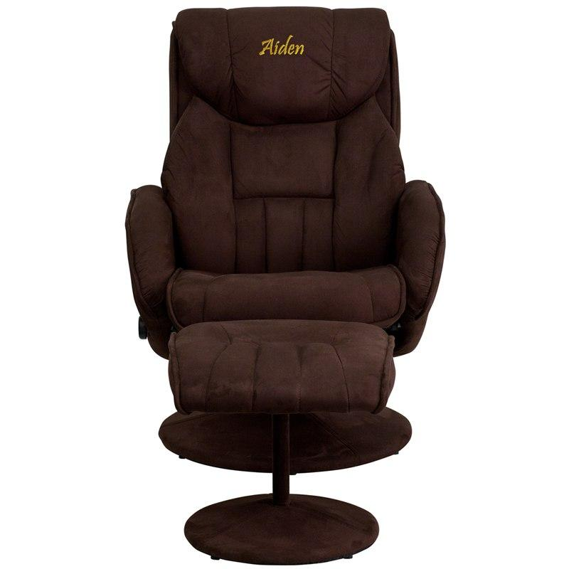 Flash Furniture BT-7895-MIC-PINPOINT-TXTEMB-GG Personalized Contemporary Brown Microfiber Recliner and Ottoman with Circular Microfiber Wrapped Base