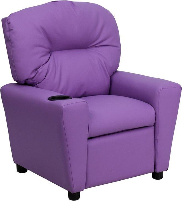 Flash Furniture BT-7950-KID-LAV-GG Contemporary Lavender Vinyl Kids Recliner with Cup Holder