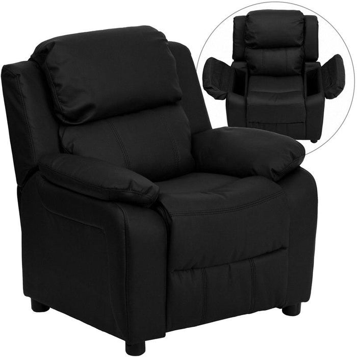 Flash Furniture BT-7985-KID-BK-LEA-GG Deluxe Padded Contemporary Black Leather Kids Recliner with Storage Arms