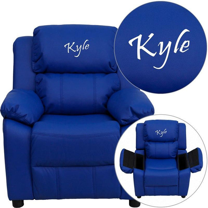 Flash Furniture BT-7985-KID-BLUE-TXTEMB-GG Personalized Deluxe Padded Blue Vinyl Kids Recliner with Storage Arms