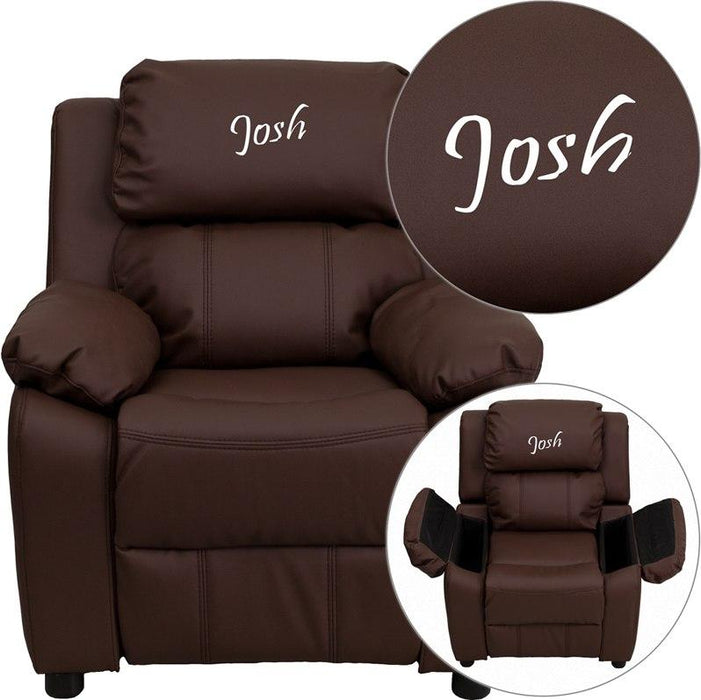 Flash Furniture BT-7985-KID-BRN-LEA-EMB-GG Personalized Deluxe Padded Brown Leather Kids Recliner with Storage Arms