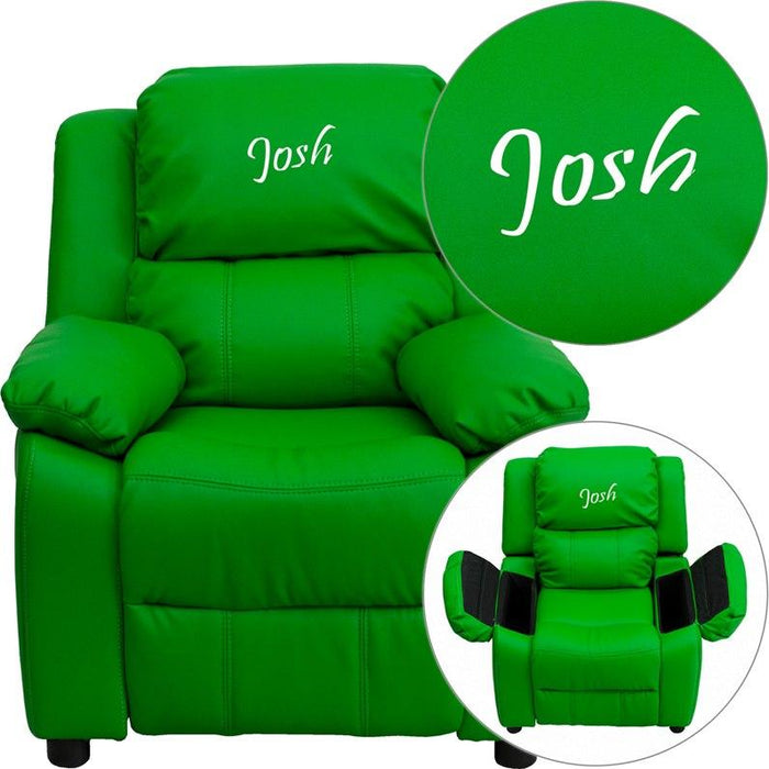 Flash Furniture BT-7985-KID-GRN-EMB-GG Personalized Deluxe Padded Green Vinyl Kids Recliner with Storage Arms