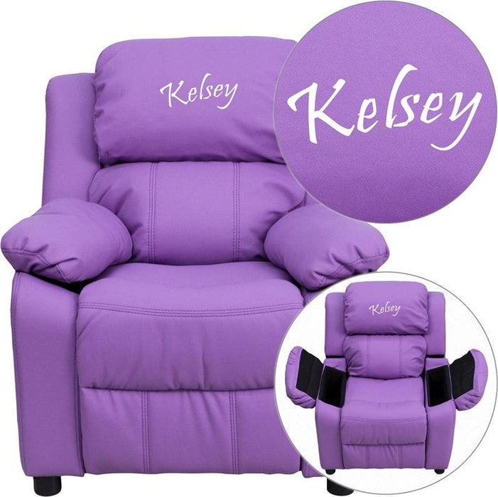 Flash Furniture BT-7985-KID-LAV-EMB-GG Personalized Deluxe Padded Lavender Vinyl Kids Recliner with Storage Arms