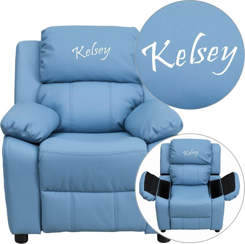 Flash Furniture BT-7985-KID-LTBLUE-EMB-GG Personalized Deluxe Padded Light Blue Vinyl Kids Recliner with Storage Arms