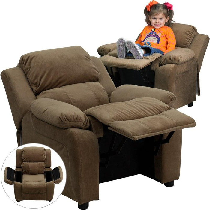 Flash Furniture BT-7985-KID-MIC-BRN-GG Deluxe Padded Contemporary Brown Microfiber Kids Recliner with Storage Arms