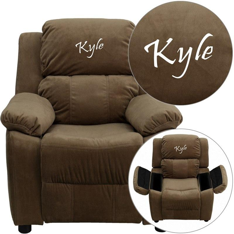 Flash Furniture BT-7985-KID-MIC-BRN-TXTEMB-GG Personalized Deluxe Padded Brown Microfiber Kids Recliner with Storage Arms