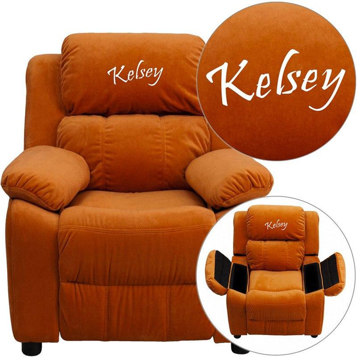 Flash Furniture BT-7985-KID-MIC-ORG-TXTEMB-GG Personalized Deluxe Padded Orange Microfiber Kids Recliner with Storage Arms