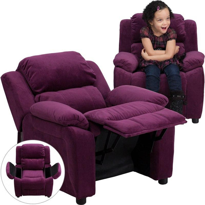 Flash Furniture BT-7985-KID-MIC-PUR-GG Deluxe Padded Contemporary Purple Microfiber Kids Recliner with Storage Arms