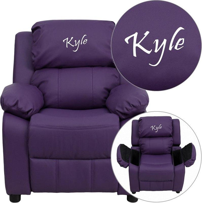 Flash Furniture BT-7985-KID-PUR-EMB-GG Personalized Deluxe Padded Purple Vinyl Kids Recliner with Storage Arms