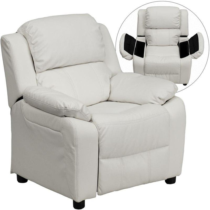 Flash Furniture BT-7985-KID-WHITE-GG Deluxe Padded Contemporary White Vinyl Kids Recliner with Storage Arms