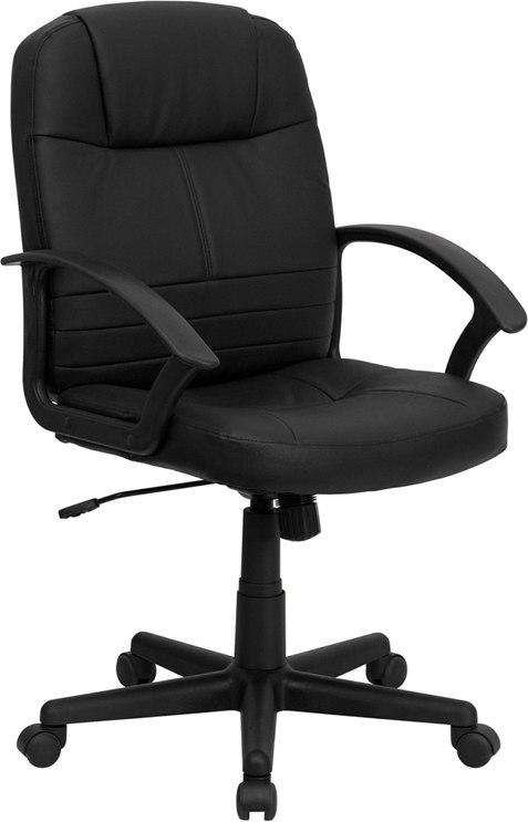 Flash Furniture BT-8075-BK-GG Mid-Back Black Leather Executive Swivel Chair with Arms