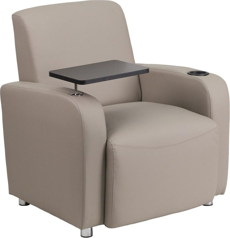 Flash Furniture BT-8217-GV-GG Gray Leather Guest Chair with Tablet Arm, Chrome Legs and Cup Holder