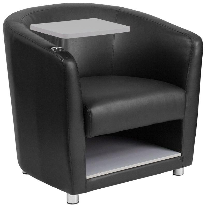 Flash Furniture BT-8220-BK-GG Black Leather Guest Chair with Tablet Arm, Chrome Legs and Under Seat Storage