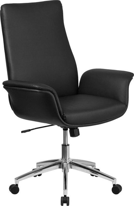 Flash Furniture BT-88-MID-BK-GG Mid-Back Black Leather Executive Swivel Chair with Flared Arms