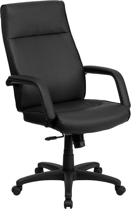 Flash Furniture BT-90033H-BK-GG High Back Black Leather Executive Swivel Chair with Memory Foam Padding with Arms